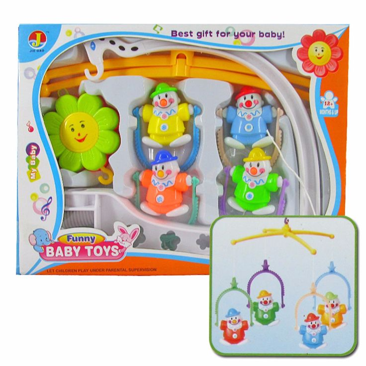 Baby Hand Bed Crib Musical Hanging Rotate Bell Ring Rattle Mobile Toy with Box Random Color