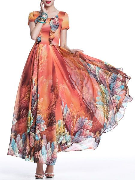 ✶Red A-line V Neck Casual Floral Maxi Dress - Designer Ya Rong tried to combine traditional Chinese style with minimalism what he understand. Her products express the free and fresh temperament; plenty of blossoms, brilliant color matches, simple smooth silhouette, and refined processes all make this brand charming and unique.✶
