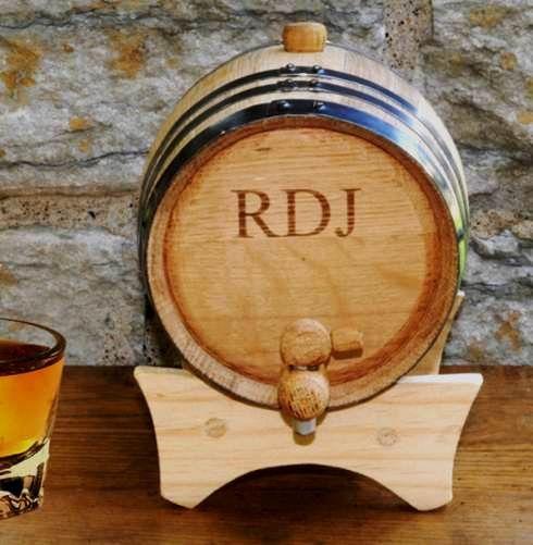 Oak Personalized Mini Whiskey Barrel (JDS Engravables GC1028) | Buy at Wedding Favors Unlimited (https://www.weddingfavorsunlimited.com/oak_mini-whiskey_barrel.html).