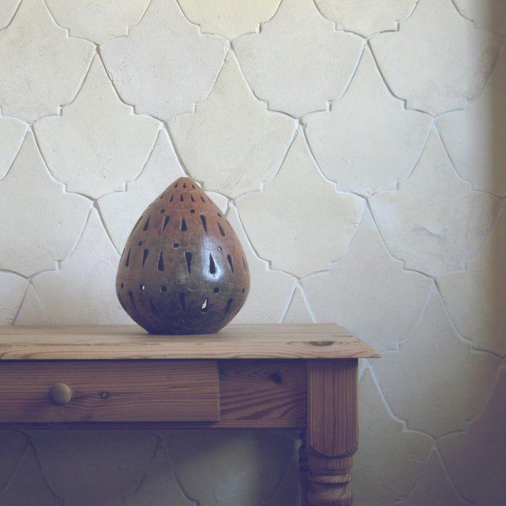 Natural white, ecru colour. Wall coverings ideas. Handmade tiles. Boho style, interior design ideas.