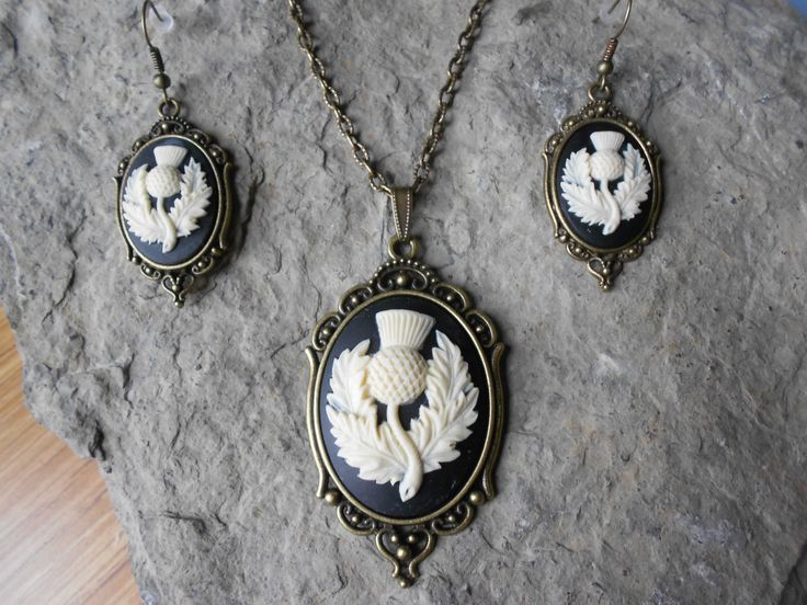 Stunning 2 Piece Bronze Set- Scottish Thistle Cameo Necklace and Earrings- Scotland's Emblem-- Quality - pinned by pin4etsy.com