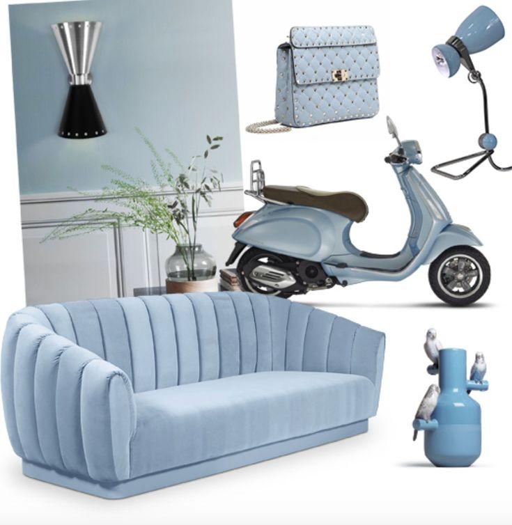 #lightblue #blue #fashion #sofa #lamp #art #bag #blauw #scooter #vaas #mini #moodboard #minimoodboard #leemwonen #blogazine