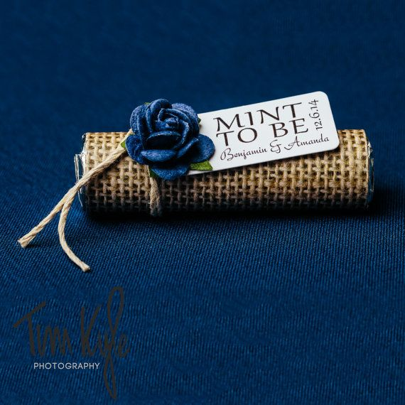 """Navy wedding favors with personalized tag, set of 24 mint rolls, """"Mint to be"""" favors, rustic wedding, burlap, chic wedding, navy wedding"""
