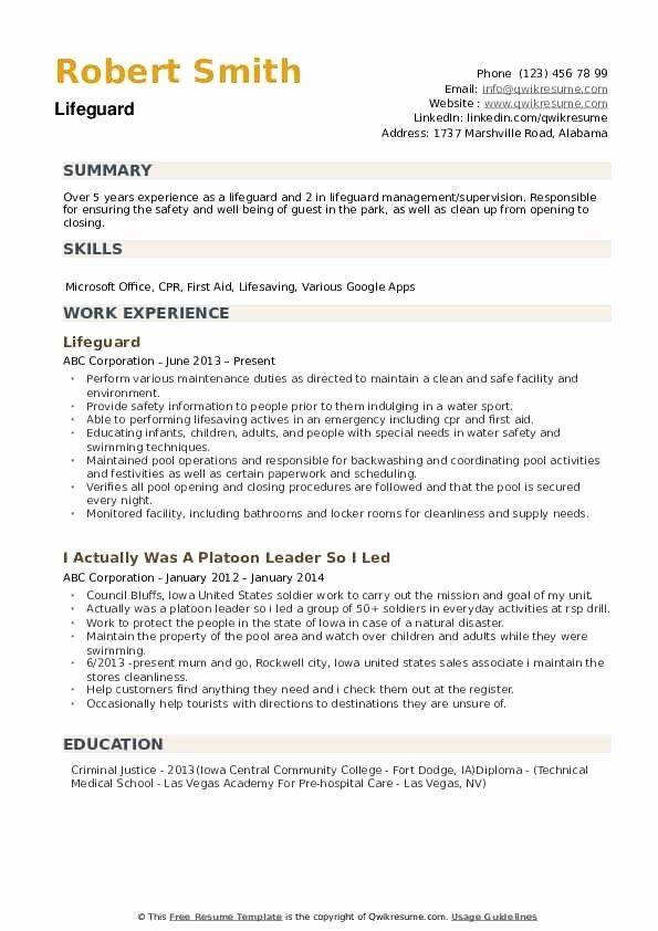 Emt Job Description Resume Lovely Lifeguard Resume Samples Job Description Job Resume Resume
