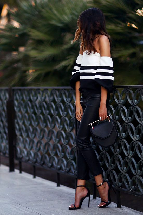 spring outfit, summer outfit, night out outfit, party outfit, black and white outfit, street chic style - black stripe off the shoulder top, black leather skinny pants, black heeled sandals, black handbag