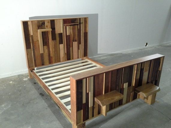 unique bed frames. Items Similar To Queen Bed - Upcycled Wood In Unique Modern Rustic Stacked Design On Etsy Frames E