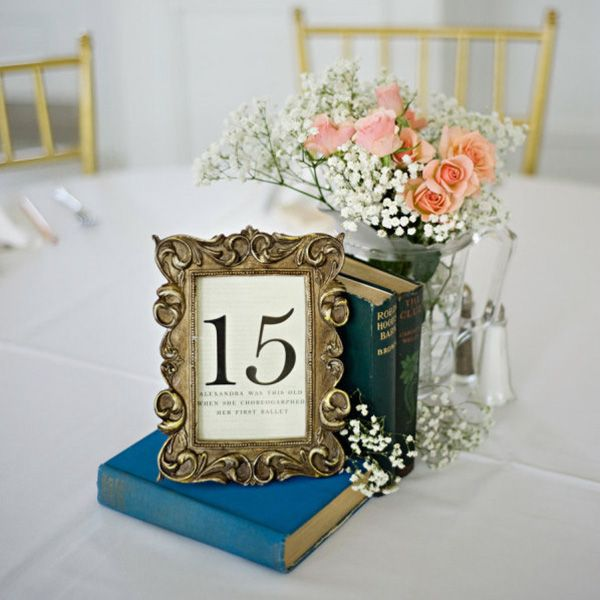 Dollar stores often offer a plethora of bargain books; collect novels that match your color scheme, frame your table numbers in dollar store frames, and complete the vintage-inspired look with simple floral arrangements featuring baby's breath and spray roses in glass jars.