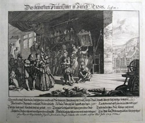 1749 BROADSHEET EINBLATTDRUCK Das bewaffnete Frauenzimmer von Zürich 1298…