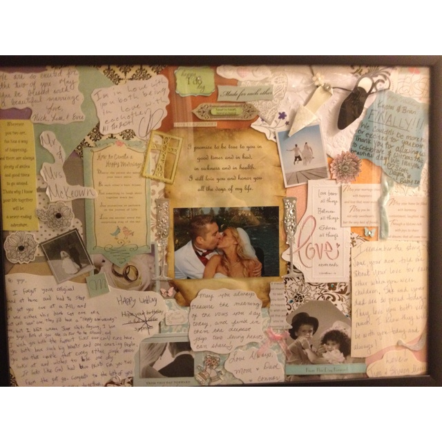 Made a wedding collage with the nice cards we received on our special day. Then added our wedding vows to top it off :-) such a great way to display the cards your don't want to throw away! Wedding cards collage