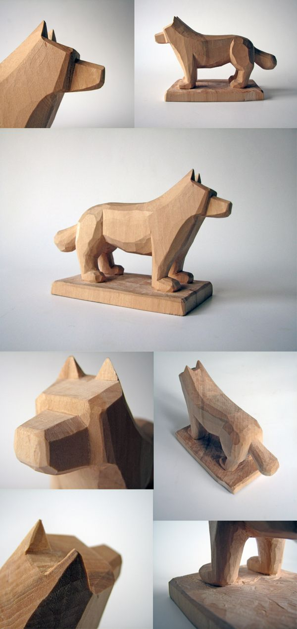 Dog woodcarving by Juozas Urbonavicius, via Behance