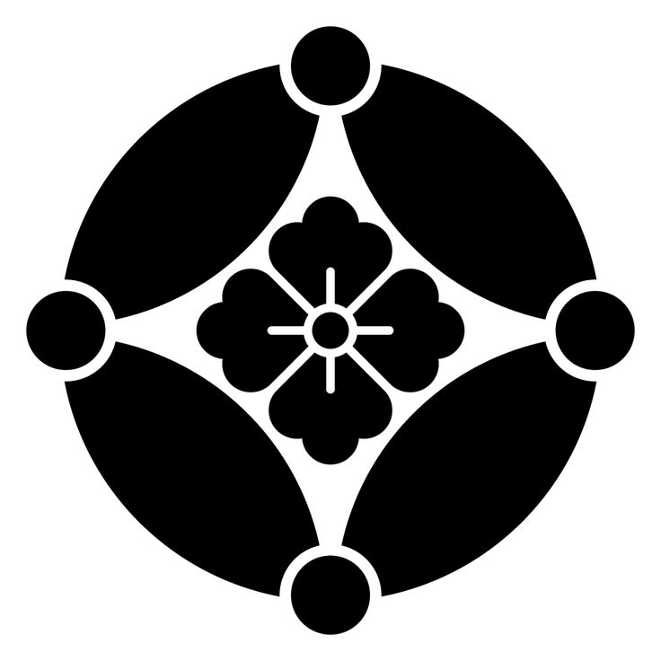 七宝紋の一種 家紋 星付き七宝に花角のepsフリー素材 家紋 七宝 星