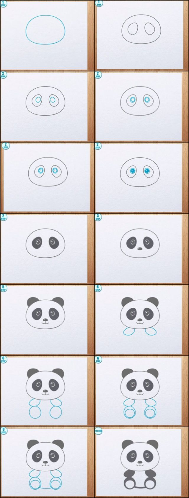How to draw a panda ♡♥