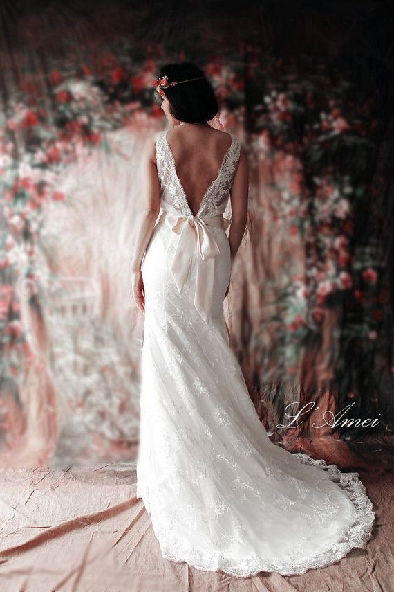 Deep V Back Ivoy Lace Wedding Dress with V Neck and Low V Back by LAmei Bridal