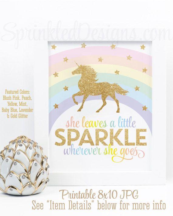 She Leaves A Little Sparkle Wherever She Goes Printable Sign, Rainbow Unicorn Birthday Party Decorations Unicorn Room Wall Art Nursery Decor - SprinkledDesigns.com
