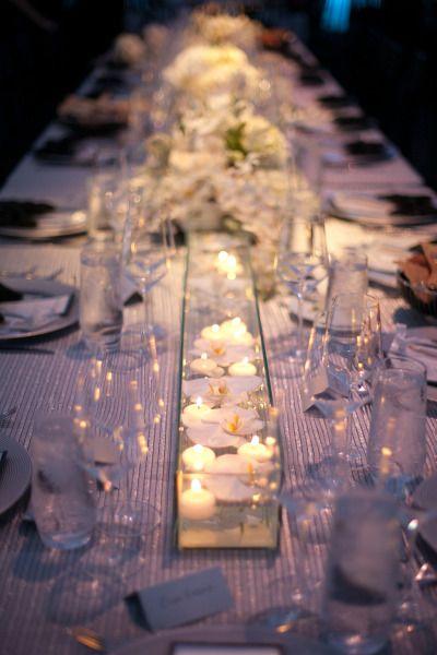 silver sparkle table linens