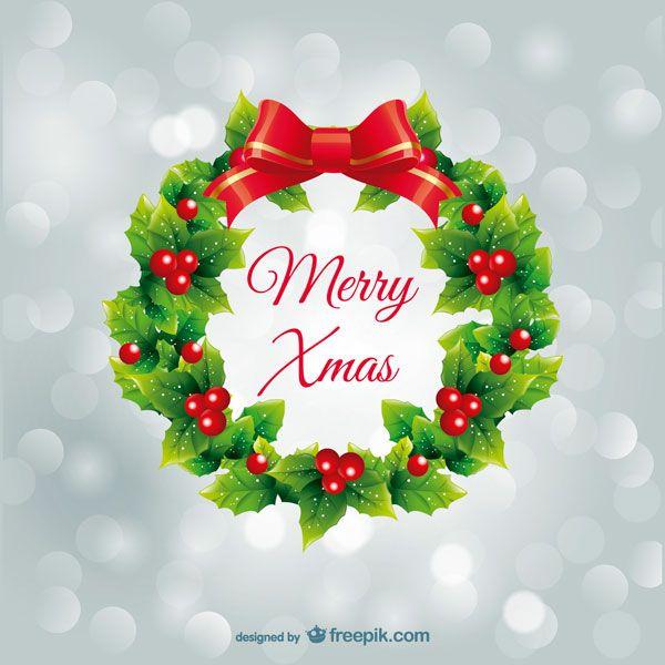 可愛いリボンのついたクリスマスリースのクリスマスカードテンプレート