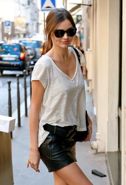 A black leather skirt (used with a plain tee)