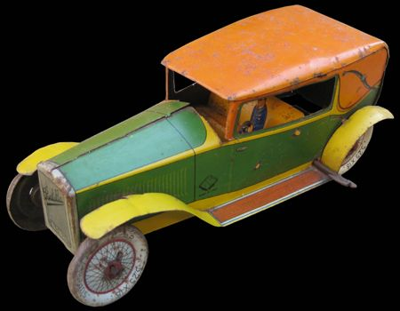 INGAP Fiat Balilla. Versione con corpo vettura verde e giallo, capote arancione e parafanghi gialli.  www.litolatta.it