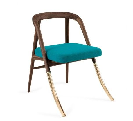 Chair                                  FSC-certified American walnut frame, fabric seat,    brass legs.