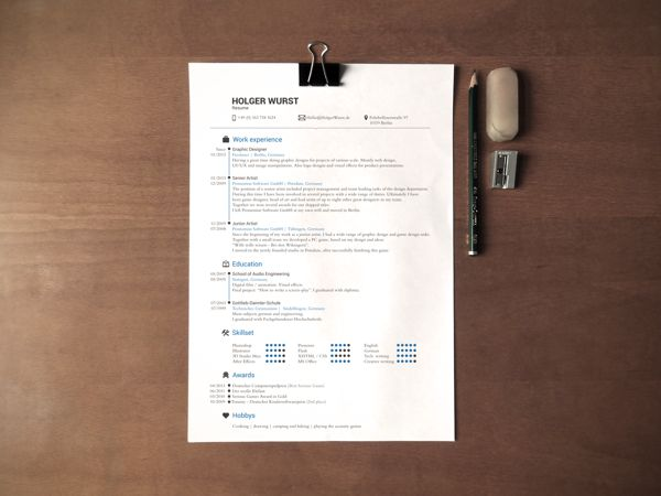 CV Mockup Simple DinA4 on desk Free psd by Holger Wurst, via - psd letterhead template