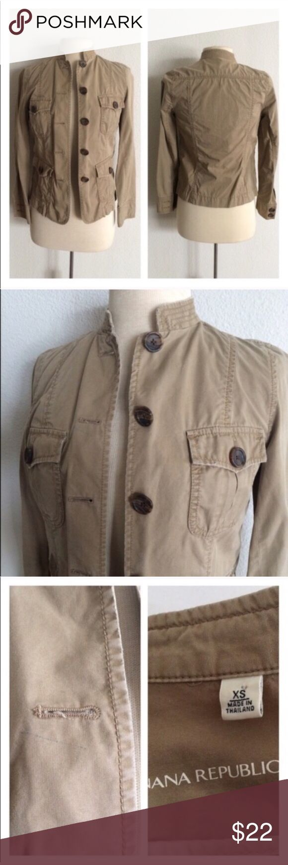"""Banana Republic jacket Banana Republic jacket. Size XS. Measures 24"""" long with a 32"""" bust. 100% cotton. Four functional front pockets. This has some distress to it, but what I can find from my research of this jacket, it appears to have been manufactured it that way. *There is a blue mark above the left chest. Appears to be a light pen mark. This item has been priced accordingly.   🚫NO TRADES🚫 💲Reasonable offers accepted💲 💰Ask about bundle discounts💰 Banana Republic Jackets & Coats"""
