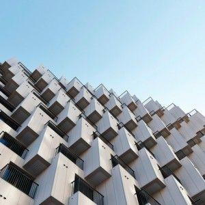 Hundreds of cubes front Julien De Smedt's  Gangnam housing block