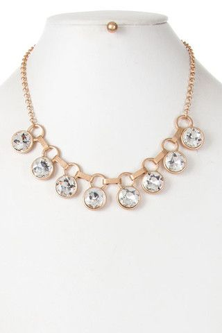 Sparkly Round Cut Glass Jewel Necklace Set