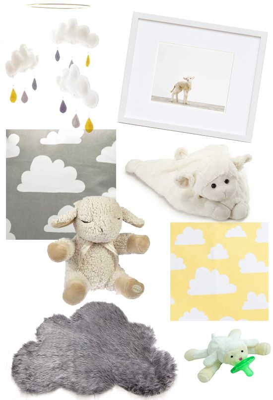 Fluffy cloud and lamb details for the new grey (and maybe yellow) nursery