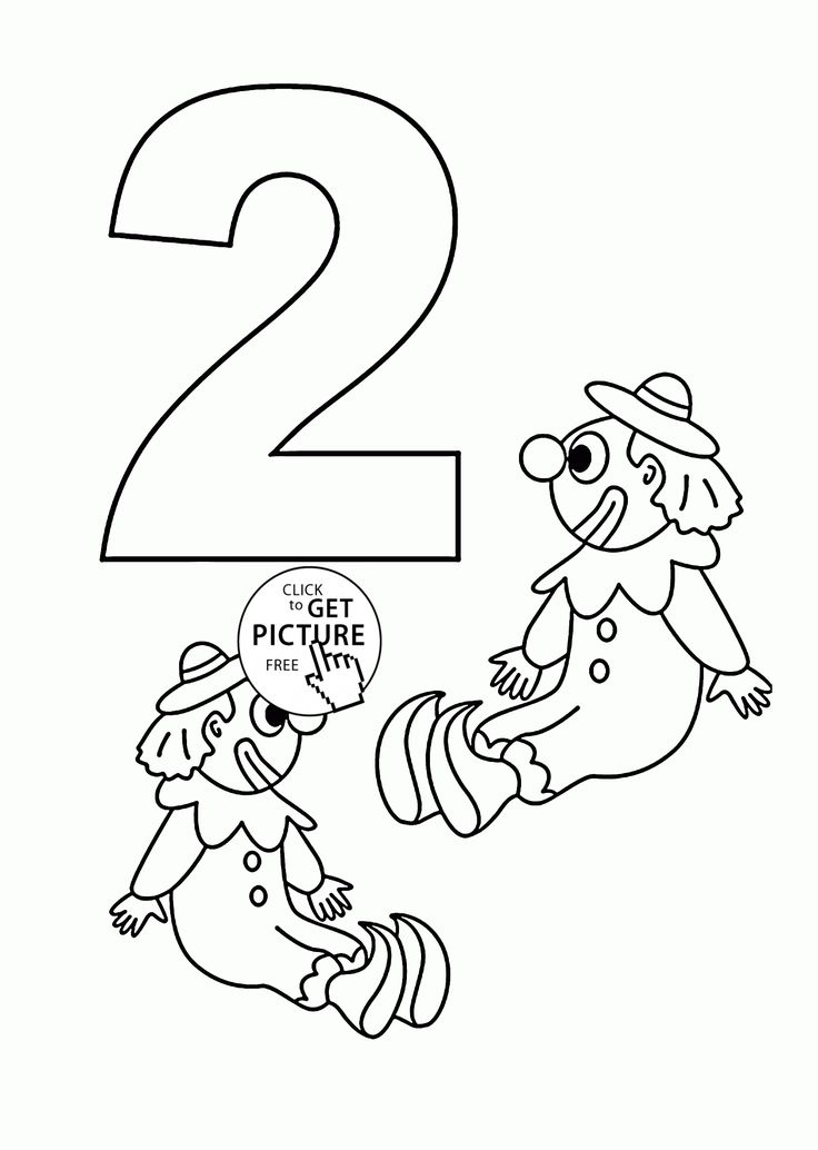 Number 2 coloring pages for kids, counting sheets