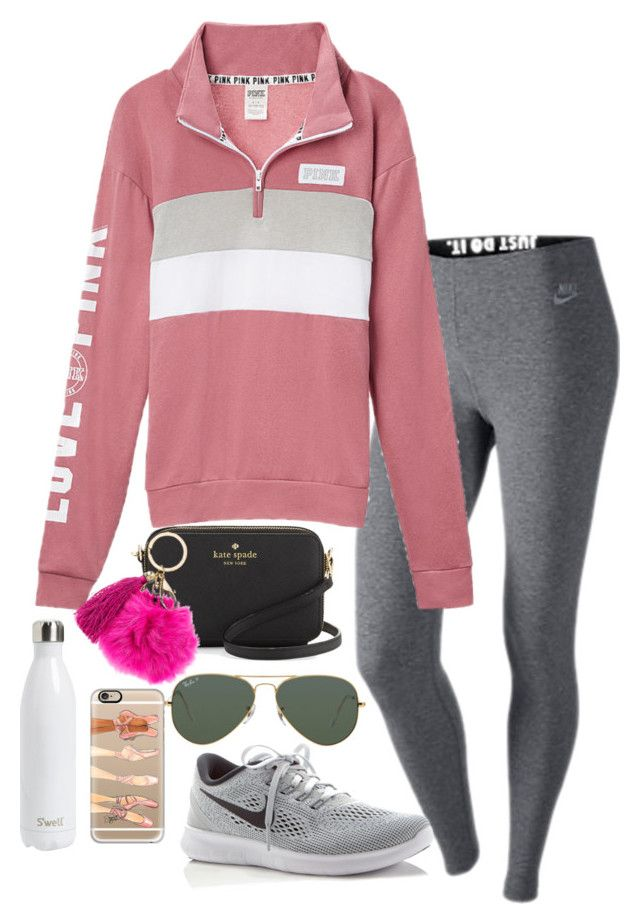 """thanks so much for 1000!!!!"" by valerienwashington on Polyvore featuring NIKE, Kate Spade, Ray-Ban, Casetify and S'well"