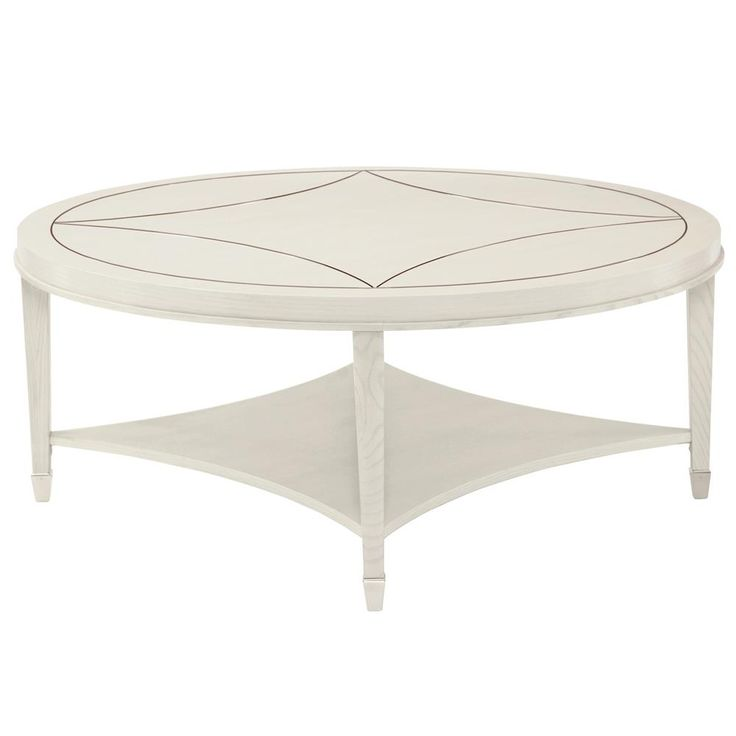 Gretta Polished Ivory Hollywood Regency Inlay Round Coffee Table   Kathy Kuo Home