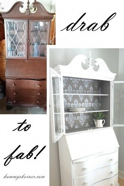 Kammy S Korner Hutch Makeover Fancy Back And Kaboo Drawers White Shabby Chic Gray Stenciled Drawer Sides Gl Doors