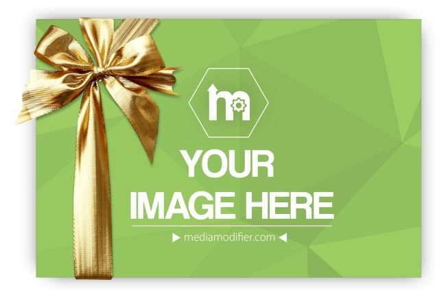 Raise your hand if you like gifts! Online mockup generator for showcasing your gift card or voucher design. A blank card with a decoration bow isolated on a white background. A great way to let your customers know you are selling or handing out gift cards.