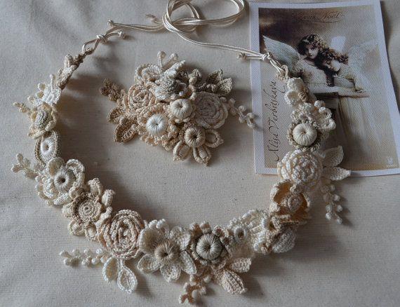 Wreath hair. Brooch. Bracelet.  Wedding.hair pin pin by AlisaSonya