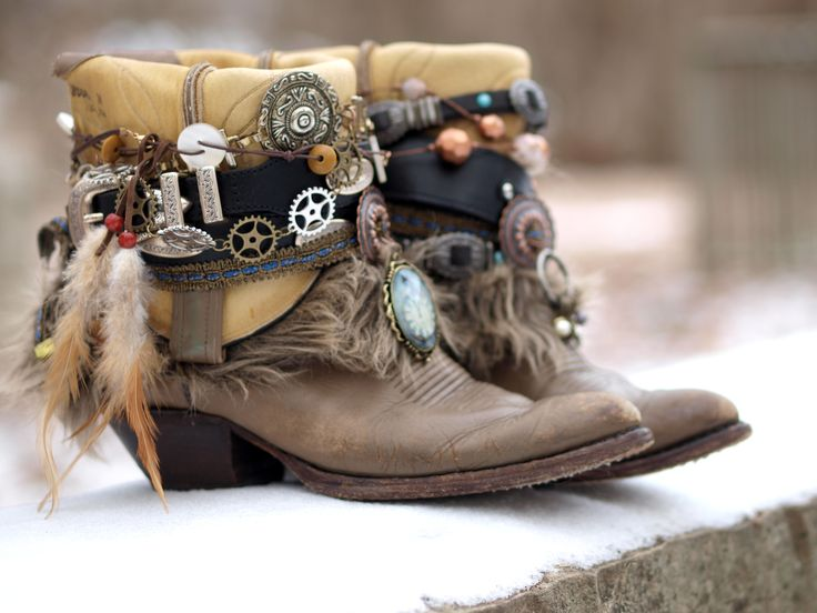 gray steampunk boho cowboy boots from TheLookFactory on Etsy