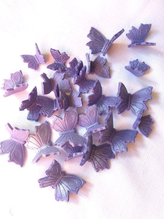 mariposa púrpura cupcake toppers 24pcs fondant comestible surtido pastel topper cookie decoraciones dulces 16 boda cumpleaños Pascua chica 3D