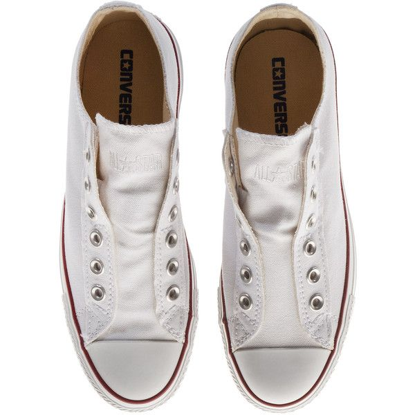 CONVERSE Chucks Loose White Slip on sneaker (1,520 THB) ❤ liked on Polyvore featuring shoes, sneakers, converse, sapatos, white slip on shoes, slip on trainers, slip on sneakers, white sneakers and flat sneakers