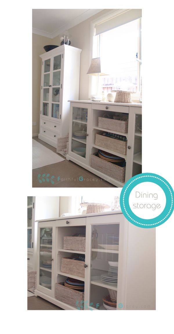 Ikea hemnes cabinet and liatorp sideboard for dining room for Dining room storage