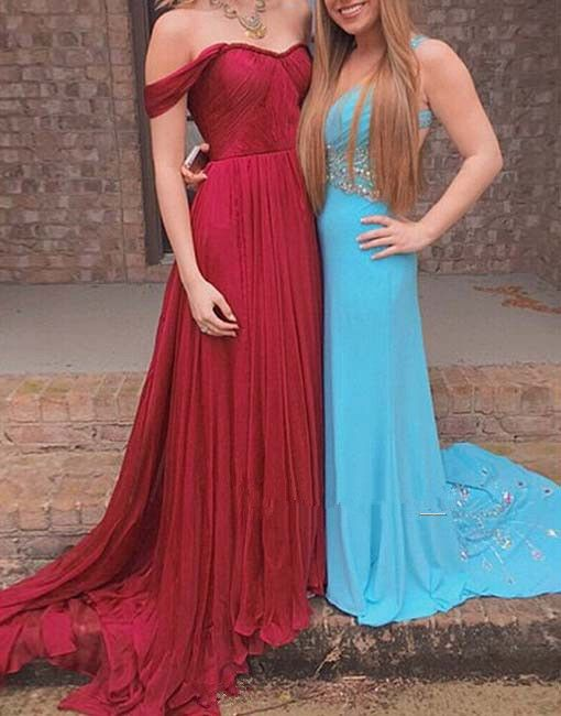 9851b622de49 Sexy Off Shoulder Sleeves Red Prom Dress