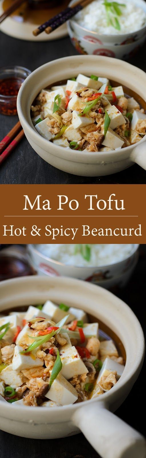 Easy Mapo tofu recipe.  Mapo tofu using ground chicken, spicy fermented beans and soft silken tofu. Easy Mapo tofu from stove to dinner table within 30 minutes.