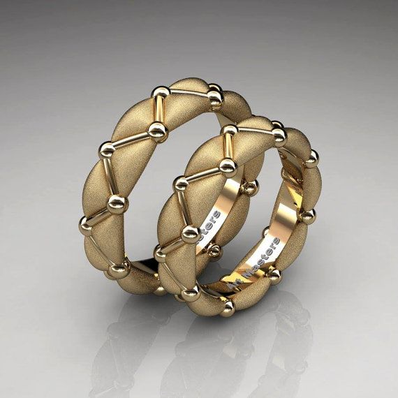Italian 14K Yellow Gold Designer Formal Infinity Wedding Band Set R533S-14KYGS