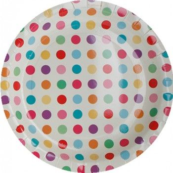 Rainbow Carnival Polka Dot Paper Plates | Hipp | The Party Cupboard