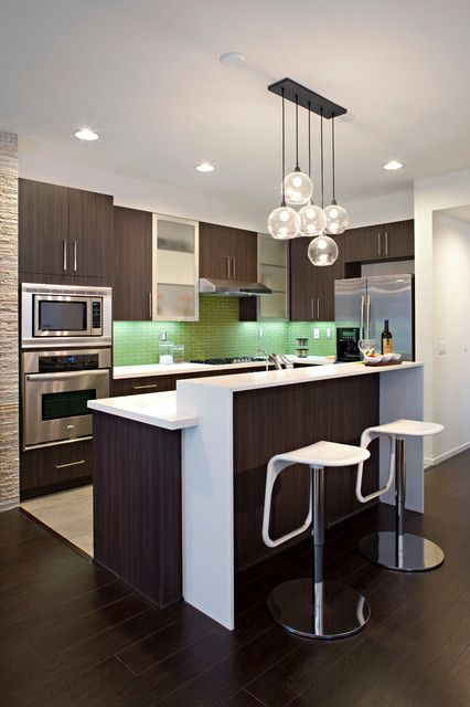 Modern Kitchen contemporary kitchen. Change the write to steel or black and I'm game. A more aged wood would be nicer too