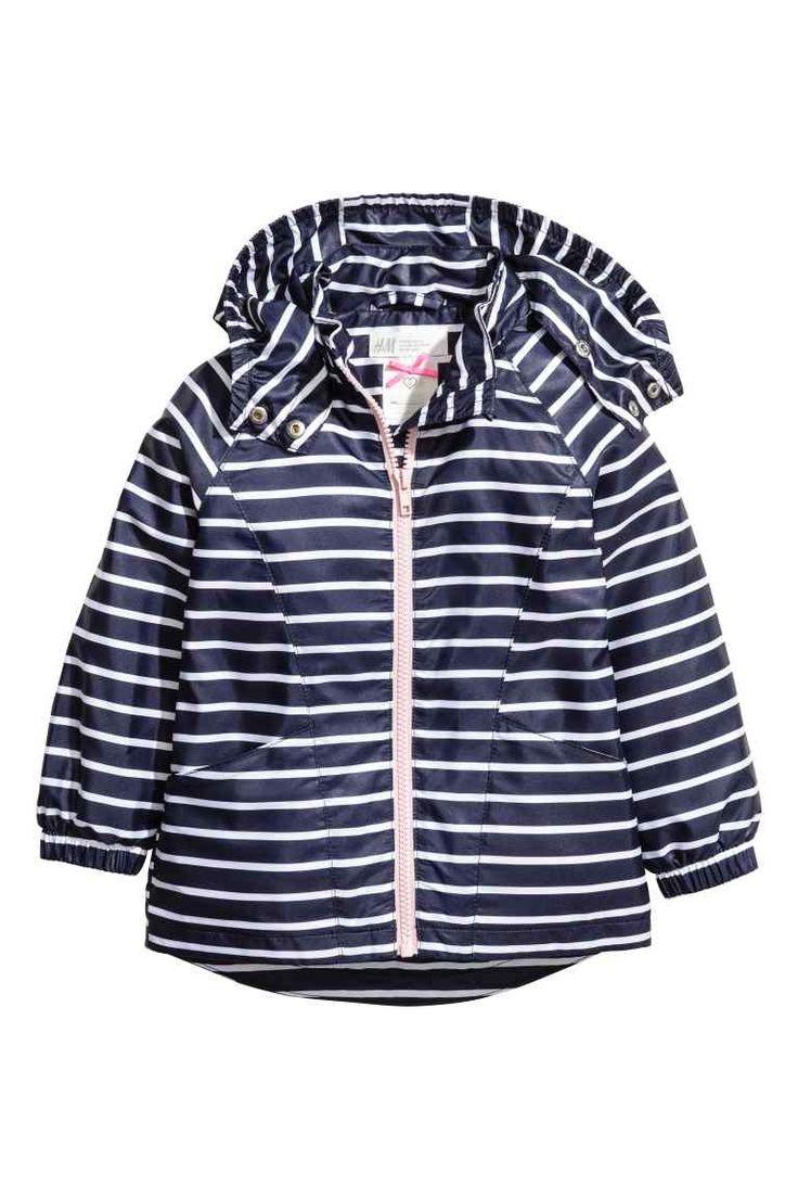 Veste coupe-vent - Bleu foncé/blanc/rayé - ENFANT | H&M FR