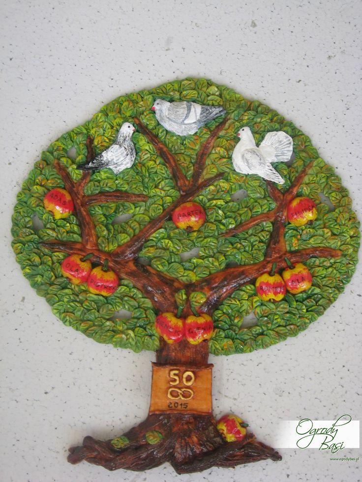 Prezent na 50 rocznicę ślubu, drzewo genealogiczne z gołąbkami www.ogrodybasi.pl #prezent #ślub #rocznica #10 #20 #30 #40 #50 #60 #gody #urodziny