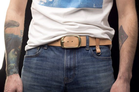 Leather Belt Unisex / Vegetable Tanned Leather Belt / Solid Brass Buckle / Key Chain
