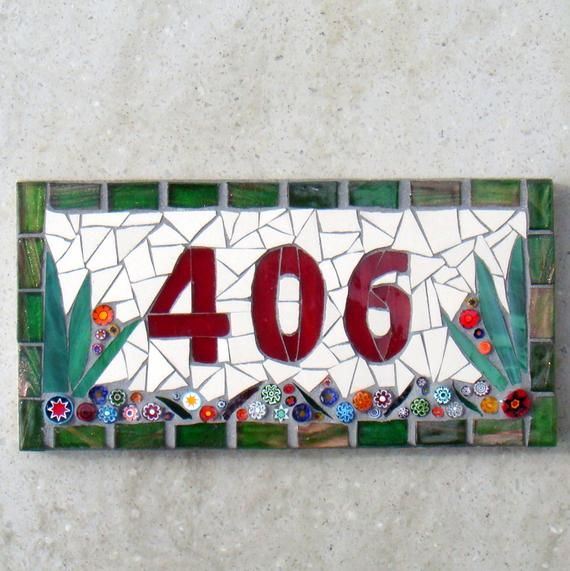 653fd8ef593de Small Mosaic house number, 3 digit, house sign, door number, street ...