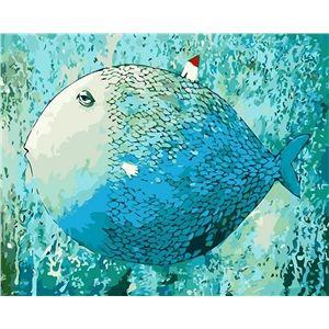 (EU Lager)Malen nach Zahlen Cartoon Schlafender Fisch DIY Handgemaltes Digital Ölgemälde 40*50 cm                                                                                                                                                                                 Mehr