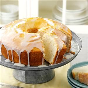 Moist Lemon Chiffon Cake Recipe -This fluffy cake is a real treat drizzled with the sweet-tart lemon glaze. —Rebecca Baird, Salt Lake City, Utah