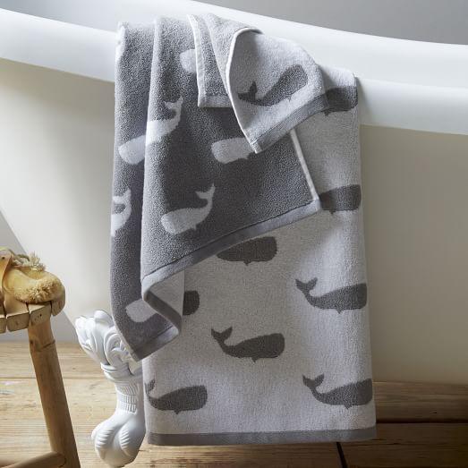 Cute Towel set for Beckett's bathroom: Whale Jacquard Towels | West Elm